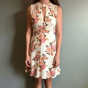 Altar'd State Cream and Pink Flower Dress, L